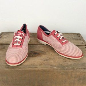 KEDS red / white stripe nautical classic lace up 8